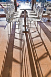 Bar chair in early morning light at the Airport. In hamburg Stock Photo