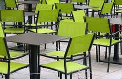 Bar with chairs and tables outdoors Stock Photo