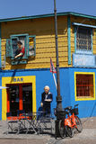 Bar and Characters in La Boca Stock Image