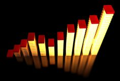 Bar chart. Lightning bar chart in orange and red color on black background Royalty Free Stock Image