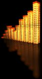 Bar chart. Lightning bar chart in orange and red color on black background with reflection Stock Image