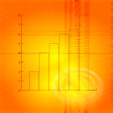 Bar chart. A flying bar chart on a abstract orange background Stock Image