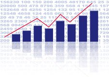 Bar Chart. Illustration of a bar chart over numbers background Stock Images