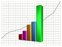 Bar Chart. 3D bar graphic for use as business chart showing increase in financial activity Stock Images