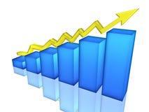 Bar Chart. Blue Bar Chart, 3d render Stock Image
