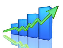 Bar Chart. Blue Bar Chart, 3d render Royalty Free Stock Images