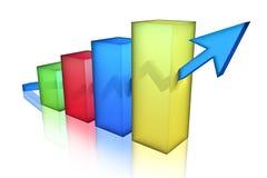 Bar Chart. Multicolor Bar Chart, 3d render Royalty Free Stock Image