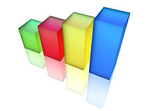 Bar Chart. Multicolor Bar Chart, 3d render Royalty Free Stock Photos