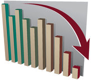 Bar Chart with Arrow going down. Bar chart with decreasing results and arrow pointing down stock illustration