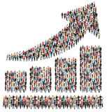 Bar chart arrow sales group of people success business profit gr. Owth marketing growing stock image