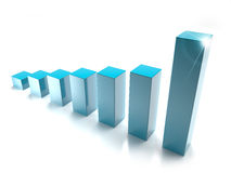 Bar chart. Blue bar graph  on white background Royalty Free Stock Images