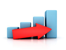Bar Chart Business Growth With Rising Up Arrow. 3d Render Illustration Stock Images