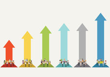 Bar chart with business people working Stock Photography