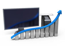 Bar chart with computer set Royalty Free Stock Photos