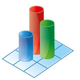 Bar chart. 3d bar chart icon with green blue and red supports Stock Photo