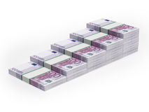 Bar chart from different Euro banknotes. Isolated on a white background Stock Images
