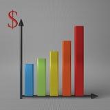 Bar chart with dollar Stock Photos