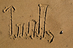 Bar chart drawn in the sand Stock Images