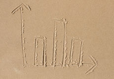 Bar chart drawn in the sand Royalty Free Stock Images