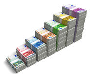 Bar chart from Euro banknotes. Bar chart from different Euro banknotes isolated on white background Stock Illustration