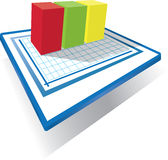 Bar Chart with even graphs blocks Stock Photos