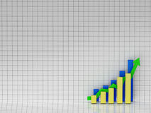 Bar chart. Good results. 3D illustration of a bar chart showing positive results Stock Photography