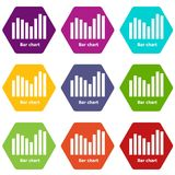 Bar chart icons set 9 vector. Bar chart icons 9 set coloful isolated on white for web Royalty Free Stock Photo