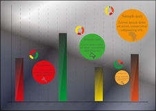 Bar chart. Infographic with pie charts and symbols Royalty Free Stock Images