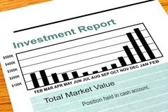 Bar Chart Investment Report. A financial investment report with bar chart Royalty Free Stock Image