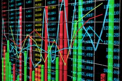 Bar chart and Line Diagram with Stock Exchange Market Data Royalty Free Stock Photo