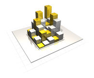 Bar chart metallic silver gold. Bar chart in a metallic style with grid silver  gold Stock Photography