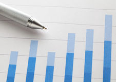 Bar chart with pen Royalty Free Stock Image