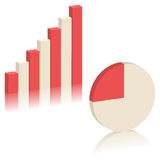 Bar chart and Pie chart. 3D graphs for design and business concept Royalty Free Stock Photo