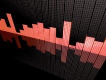 Bar chart and reflection. Angled illustration of random bar chart reflecting on patterned black background Stock Image