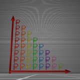 Bar chart of rubles. Multicolor glossy bar chart of ruble signs showing decrease, standing on gray background Royalty Free Stock Photo