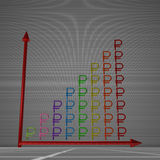 Bar chart of rubles. Multicolor glossy bar chart of ruble signs showing progress, standing on gray background Royalty Free Stock Photography