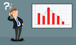 Bar chart shows a decline. The gentleman is in a sad mood and he shows a decline/loss of a company or a business Royalty Free Stock Images