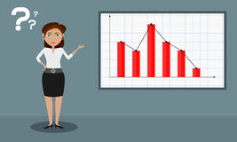 Bar chart shows a decrement _ female presenter Stock Photo
