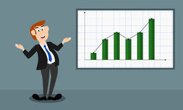 Bar chart shows an increment _ male presenter. The male presenter is in happy mood and he shows the growth/profit of a company/business by a bar chart vector illustration