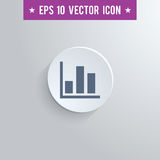 Bar chart symbol icon on gray shaded background. Stylish bar chart icon. Blue colored symbol on a white circle with shadow on a gray background. EPS10 with Stock Image