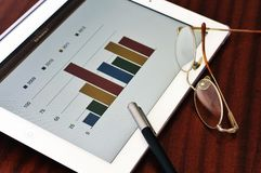 Bar chart in tablet Royalty Free Stock Images
