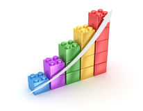 Bar chart from toy blocks. Computer generated image. 3d render Royalty Free Stock Photography