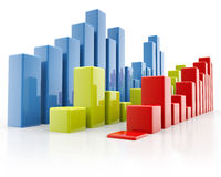 Bar charts, side view Stock Photography