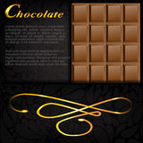 Bar of chocolate in an elegant black envelope Stock Photo