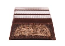 Bar of chocolate with a filling. Macro. Royalty Free Stock Photography
