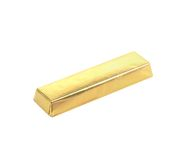 Bar of chocolate in golden foil. White background royalty free stock photo