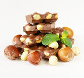bar of chocolate with hazelnuts Stock Photography