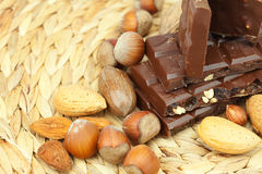 Bar of chocolate and nuts Stock Image