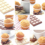 Bar of chocolate,tea and muffin Royalty Free Stock Photo