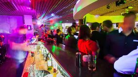 Bar in club. Time Lapse stock video